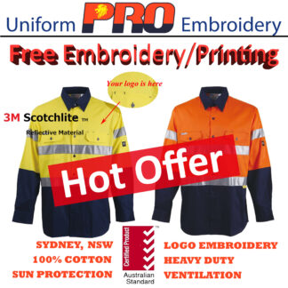 [Free Embroidery] Hi Vis Cotton Drill Shirts – Long Sleeves with 3M Reflective Tape