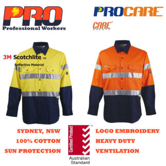 Hi Vis Cotton Drill Shirts - Long Sleeves with 3M Reflective Tape