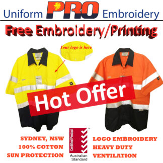 [Free Embroidery] Hi Vis Cotton Drill Shirts – Short Sleeves with 3M Reflective Tape