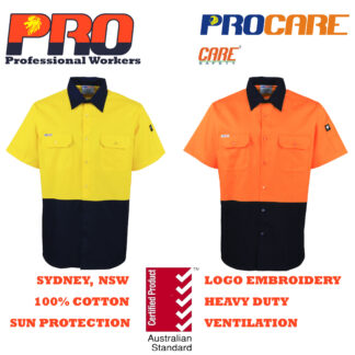 Hi Vis Cotton Drill Shirts - Short Sleeves without Reflective Tape