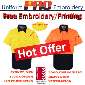 [Free Embroidery] Hi Vis Cotton Drill Shirts – Short Sleeves without Reflective Tape