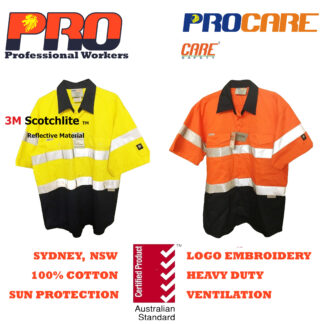 Hi Vis Cotton Drill Shirts – Short Sleeves with 3M Reflective Tape