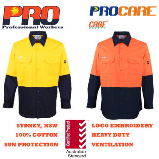 Hi Vis Cotton Drill Shirts - Long Sleeves without Reflective Tape
