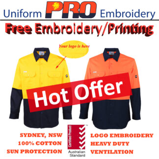 [Free Embroidery] Hi Vis Cotton Drill Shirts – Long Sleeves without Reflective Tape
